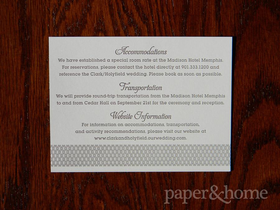Letterpress Garden Wedding Invitation Info Card