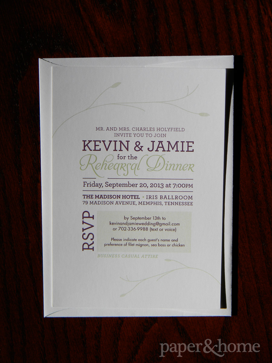 Garden Wedding Rehearsal Invitation Purple and Green