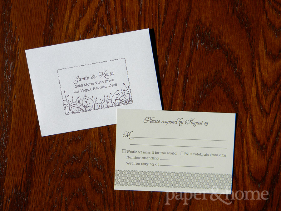 Letterpress Garden Wedding Invitation Reply Card with Envelope