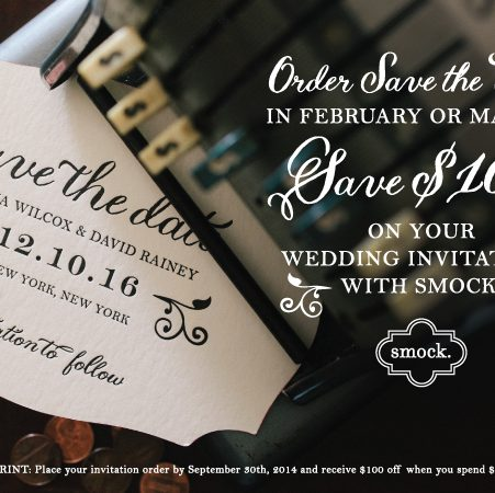 Save $100 on your wedding invitations with Smock at Paper and Home in Las Vegas