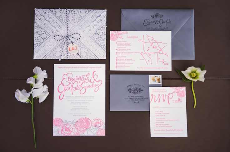 Letterpress, hand calligraphy, lace, floral, pink and gray wedding invitations