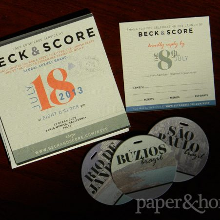 ultra thick luxurious corporate launch party invitations with matching gift tag coasters