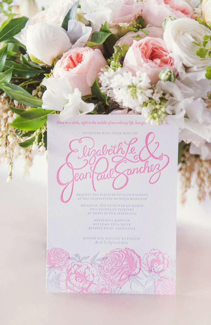 2-color letterpress wedding invitations for a Beverly Hills Wedding at Greystone Mansion.