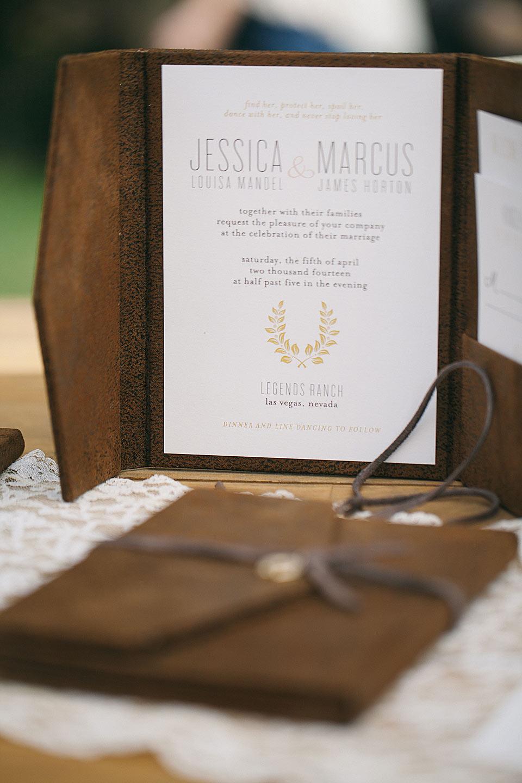 leather rustic wedding invitations