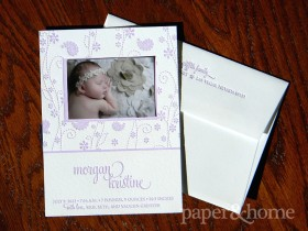 photo letterpress baby announcement with paisley and flowers