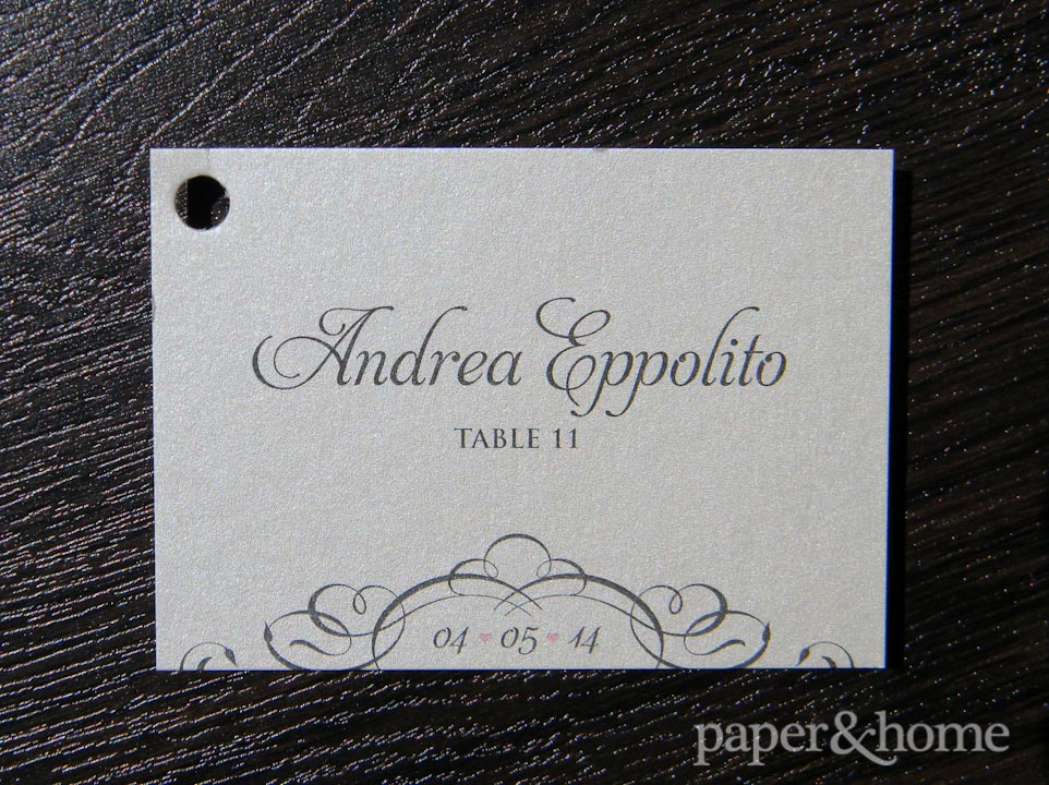 elegant escort card with hole punch