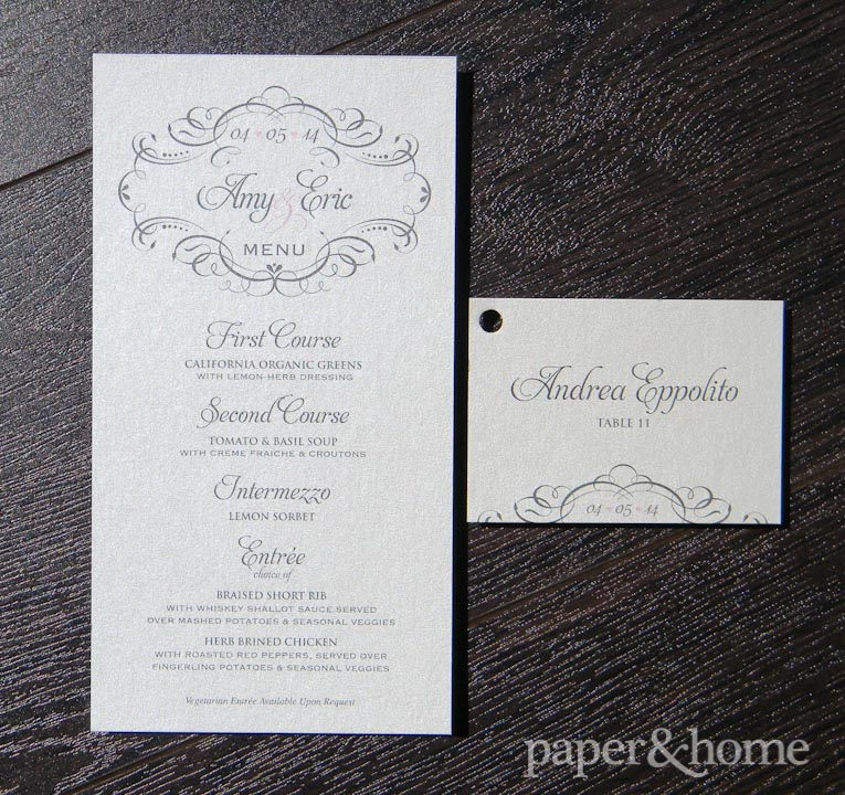 elegant menu card and escort card with hole punch