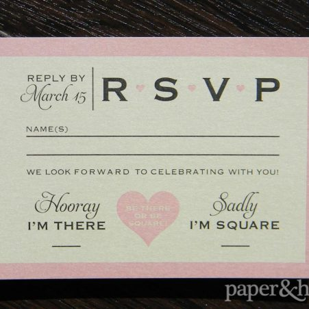 Modern Classic Reply Postcard. Pink, Champagne, Black, Shimmer