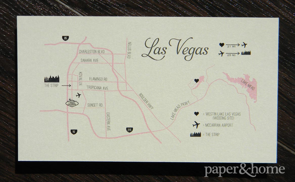 Modern Classic Wedding Map of Las Vegas. Pink, Champagne, Black, Shimmer