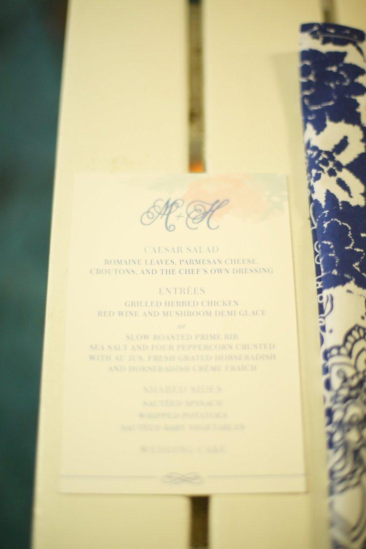 summer wedding menu card