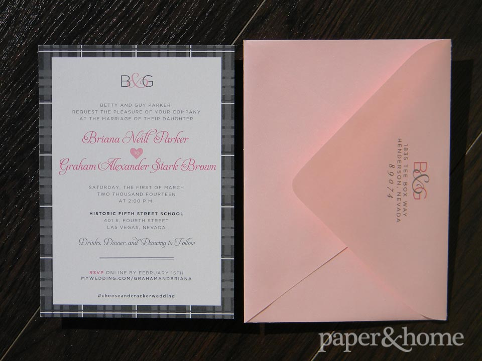 Celtic Wedding Invitation with Pink Envelope