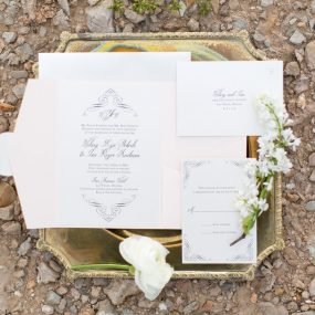 desert wedding inspiration pocket invitation set