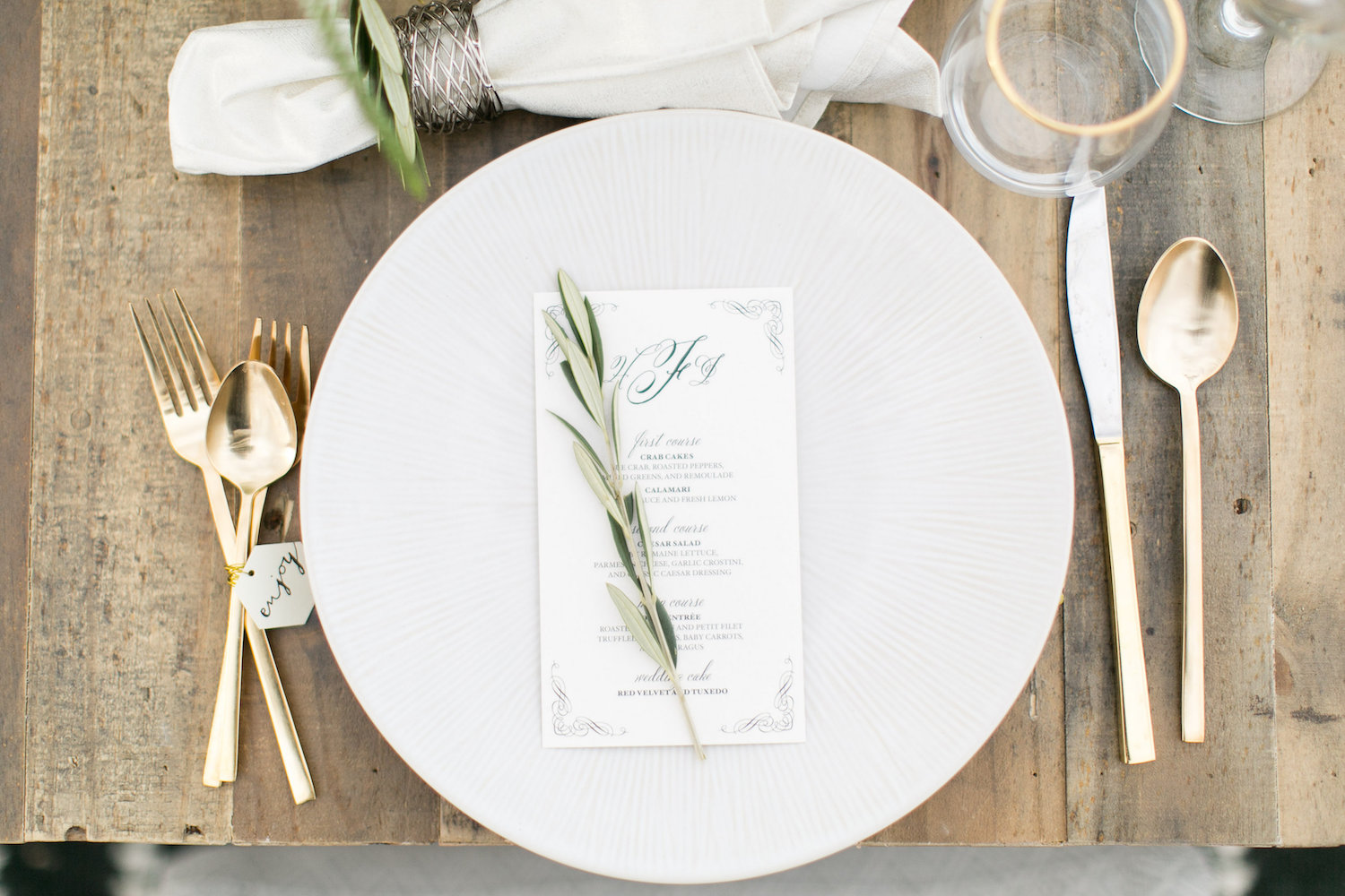 desert wedding inspiration menu and tag accessories