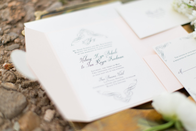 desert wedding inspiration pocket invitation