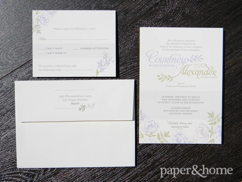 garden wedding invitations set