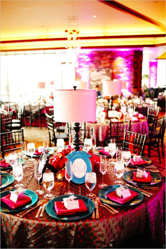 colorful modern wedding reception