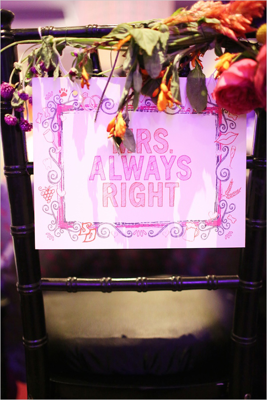 mrs. always right wedding sign