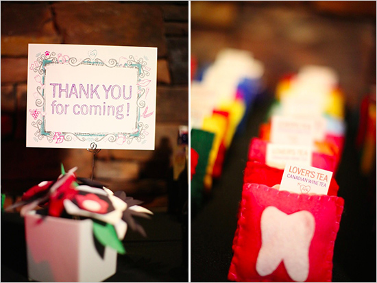 thank you for coming sign and tea wedding favors