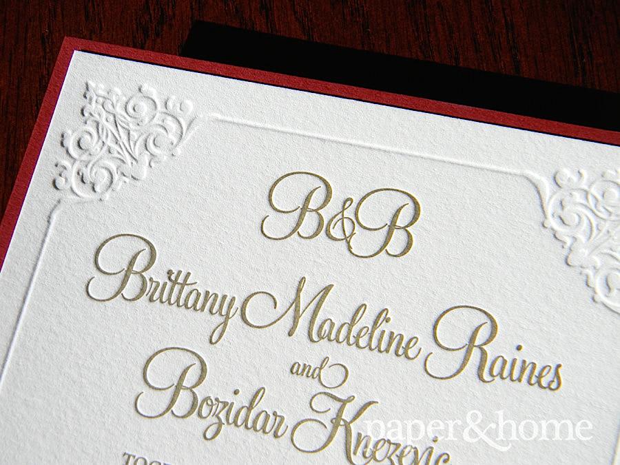 blind letterpress wedding invitations