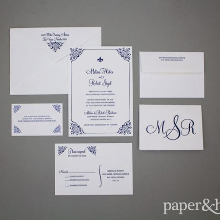 letterpress fleur de lis wedding invitations