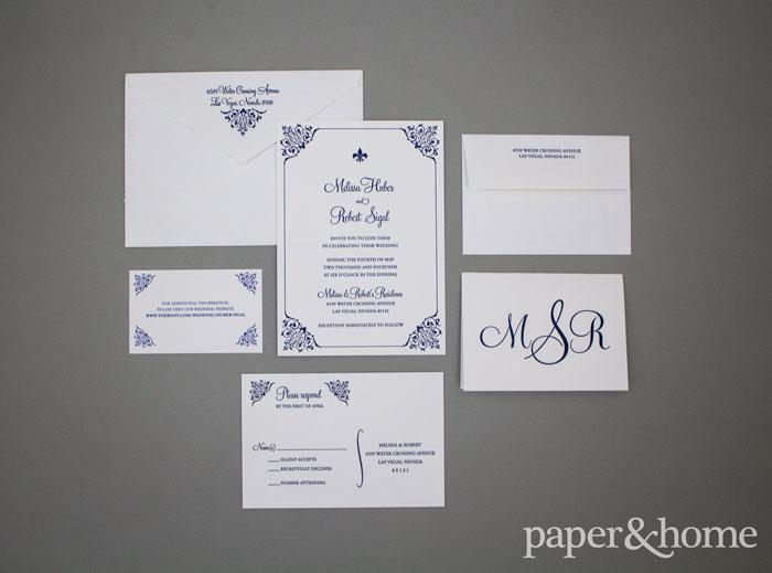 letterpress fleur de lis wedding invitations