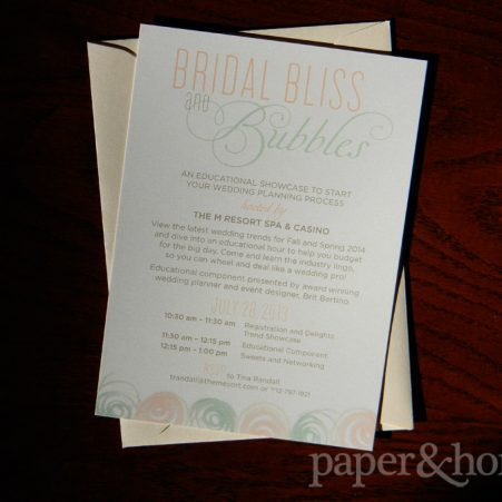 corporate invitation m resort bridal bliss and bubbles