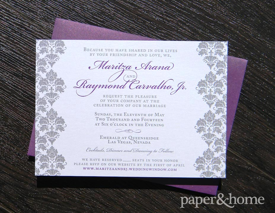 Damask Wedding Invitations Maritza and Raymond Paper and Home