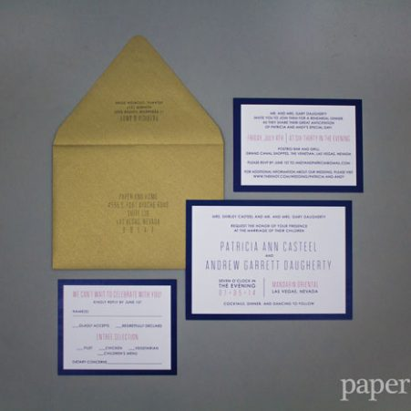 navy blue modern wedding invitations