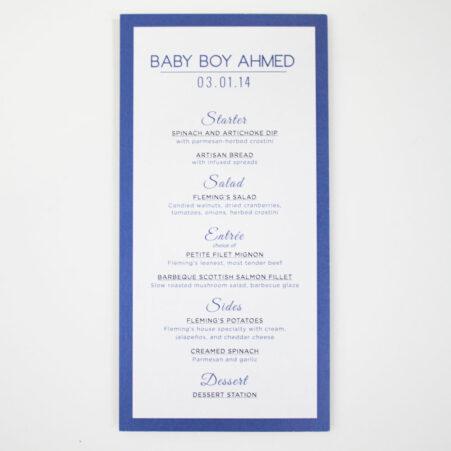 menu design baby shower