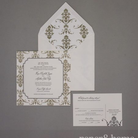 damask letterpress wedding invitations