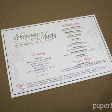ceremony programs for a TPC Summerlin wedding