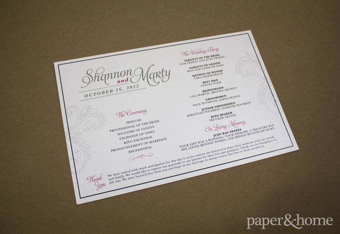 ceremony programs for a TPC Summerlin wedding
