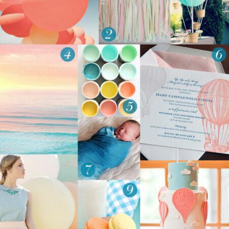 Hot Air Balloon Letterpress Baby Stationery