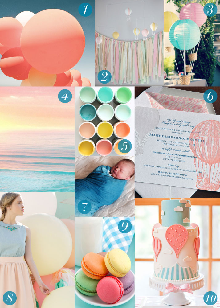 Hot Air Balloon Letterpress Baby Stationery