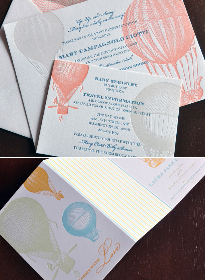 hot air ballon letterpress baby stationery