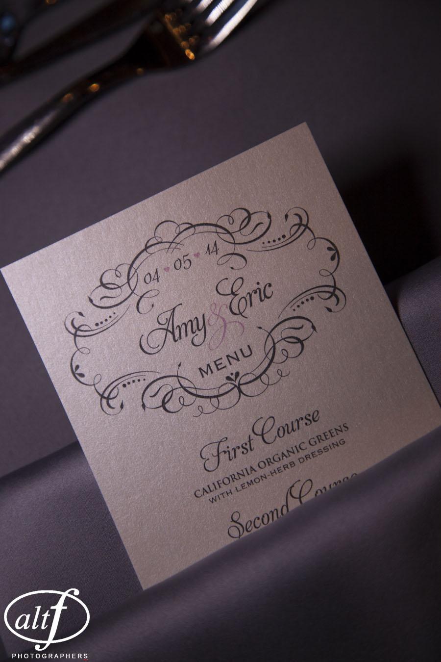 elegant wedding menu cards las vegas
