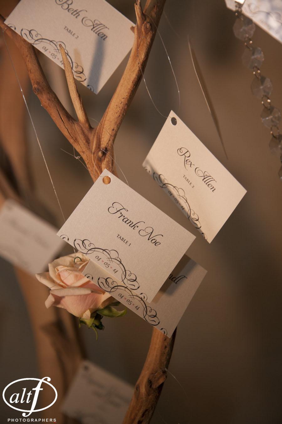 escort cards hung from a manzanita tree