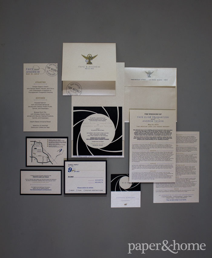 James Bond Wedding Invitations: Faye And Andy • Paper And