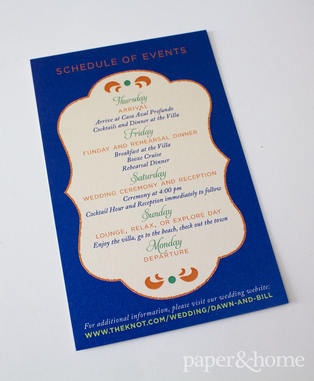 Mexican Schedule of Events Card