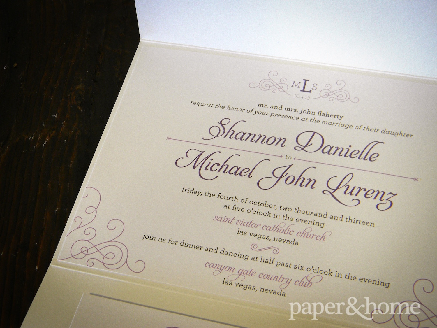 Purple and White Wedding Invitations - Paper and Home