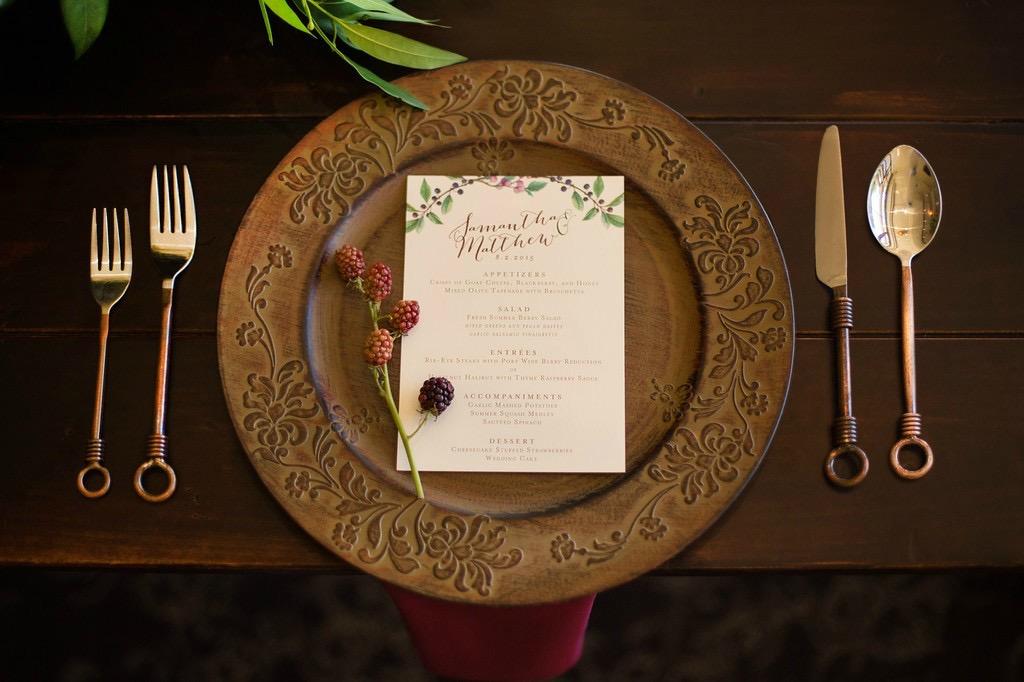 Berry Wedding Menu Card