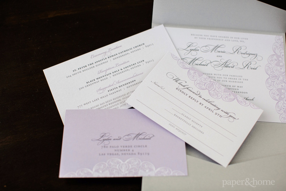 Purple and Gray Lace Wedding Invitations