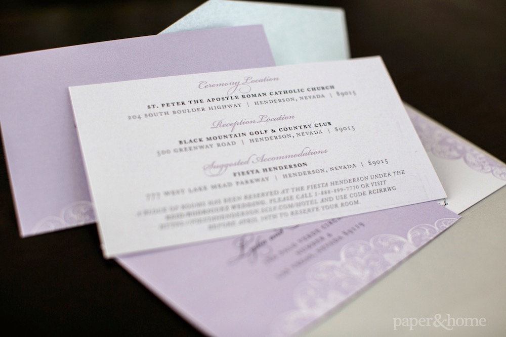 Purple And Gray Lace Wedding Invitations White