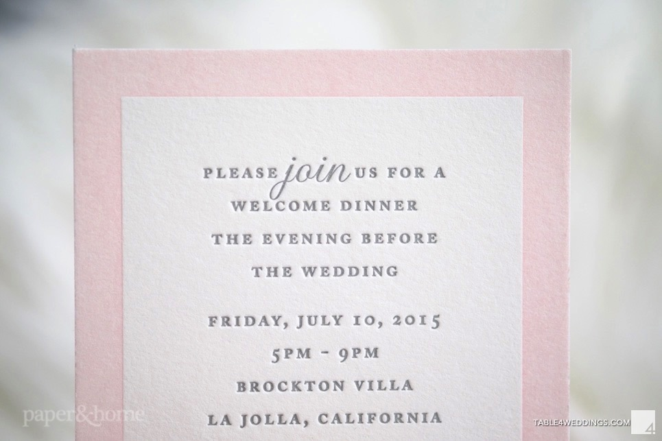 Pink and Gray Letterpress Wedding Invitations - Paper and Home