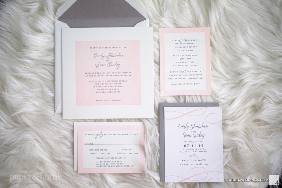 Letter Press Wedding Invitation: Pink And Gray Letterpress Wedding Invitations