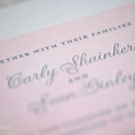 pink and gray letterpress wedding invitations