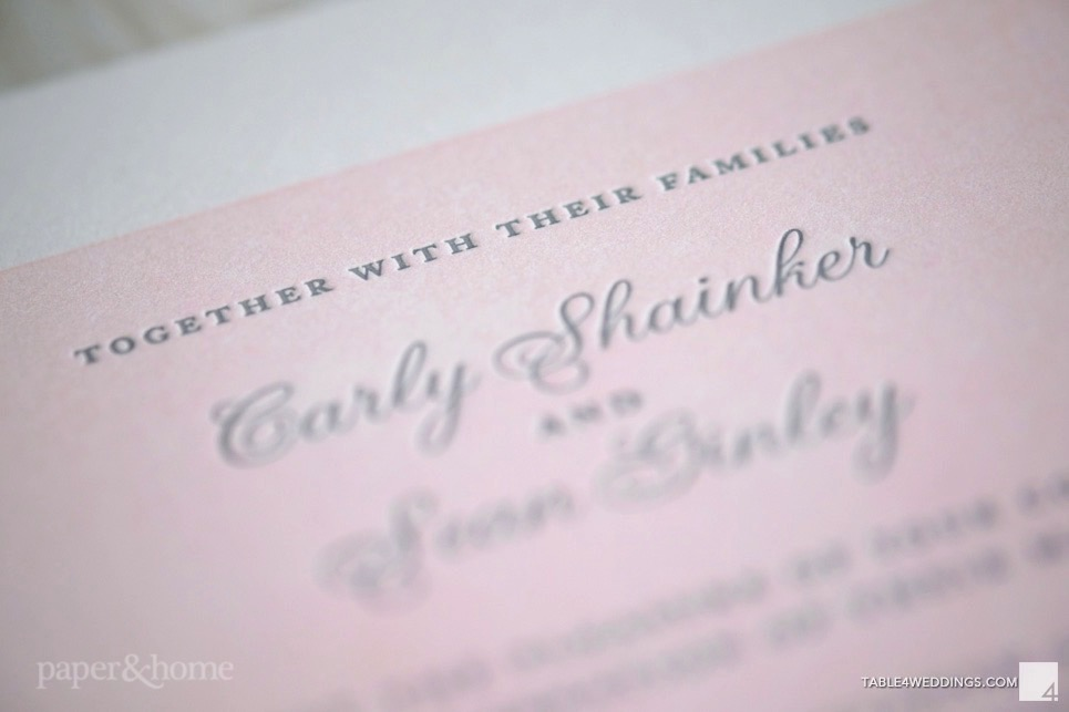 pink and gray letterpress wedding invitations