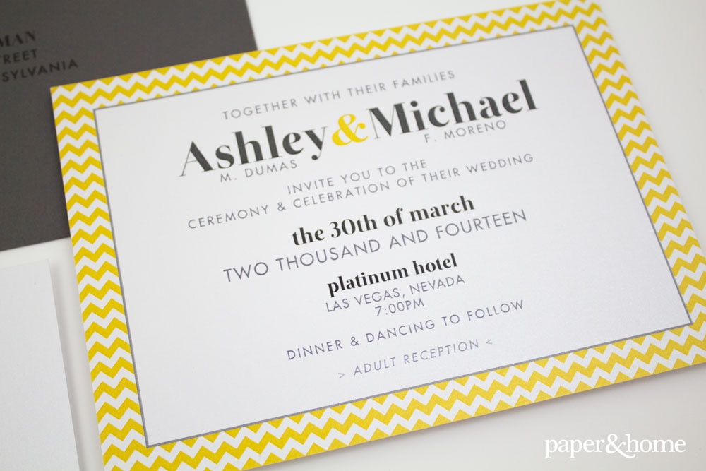 yellow and gray wedding invitations