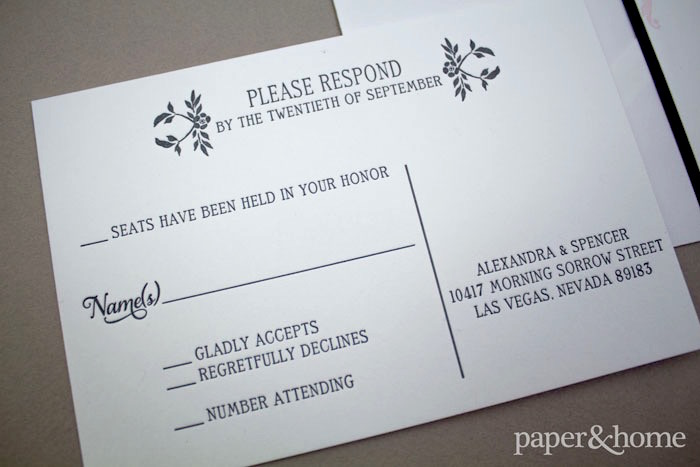 letterpress wedding reply cards