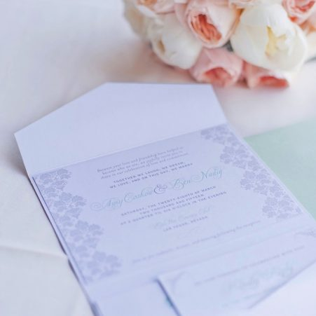 mint and gray wedding invitations